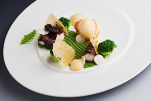 Mušle sv. Jakuba a chobotnice, brokolice, brokolicové pyré a pěna ponzu : Petr Fučík : KOISHI – fish & sushi restaurant