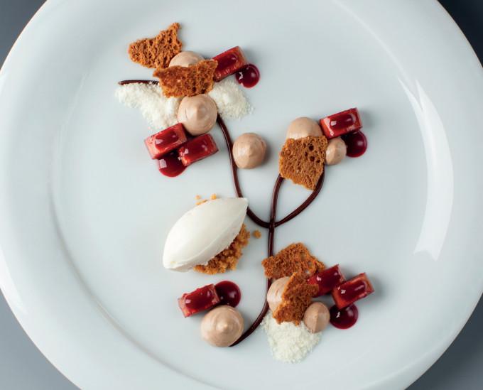 Čokoládový krém s rebarborou a skořicovým sorbetem : Lukáš Skála